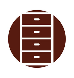 Wooden drawer isolated icon vector