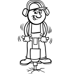 worker with pneumatic hammer cartoon vector image