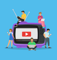 young people located next to retro tv using mobile vector image
