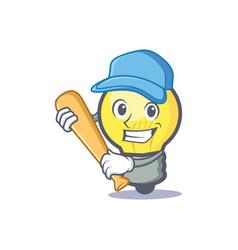 Baseball light bulb character cartoon vector