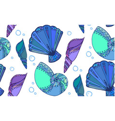 seamless texture with doodle seashells boho vector image vector image