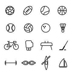 Set of sport line icons on white background vector image vector image