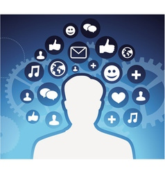 social media icons - male silhouette - concept vector image