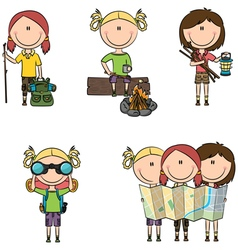 camping girls vector image