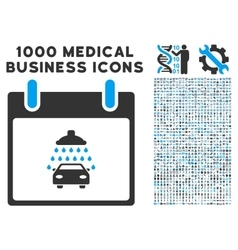 Car Shower Calendar Day Icon With 1000 Medical vector image