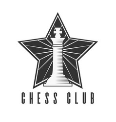 chess club black and white emblem with chess king vector image vector image