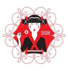 Cute Smiling Asian Girl Character on black kimono vector image