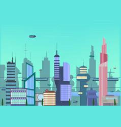future city flat urban cityscape vector image vector image