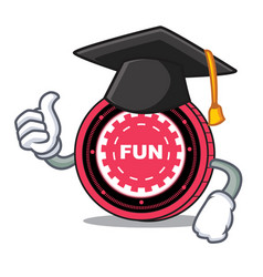Graduation funfair coin character cartoon vector