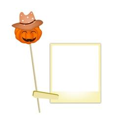 Halloween Pumpkin in Cowboy Hat with Blank Photos vector image vector image