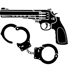 Handcuffs and pistol vector