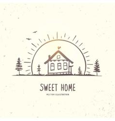 house at dawn vector image vector image