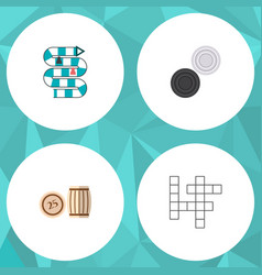 icon flat entertainment set of crossword table vector image