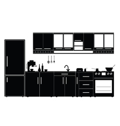kitchen with furniture black vector image vector image