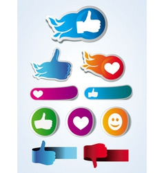 set of like stickers with hands and hearts vector image vector image