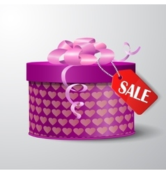 Valentine red gift box with heart shapes vector