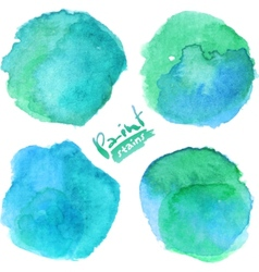 Bright blue watercolor painted stains set vector image vector image
