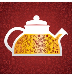 hand drawn tea background vector image