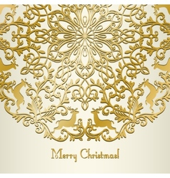 Christmas Greeting card with snowflake and deer vector image