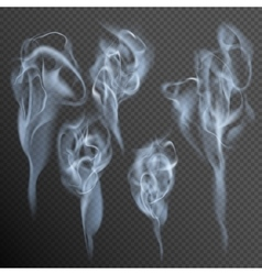 Isolated realistic cigarette smoke waves EPS 10 vector image