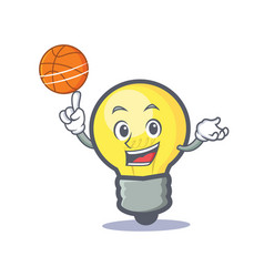 Playing basketball light bulb character cartoon vector
