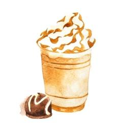 watercolor coffee in plastic cup vector image vector image