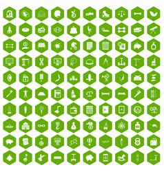 100 balance icons hexagon green vector
