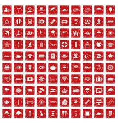100 umbrella icons set grunge red vector