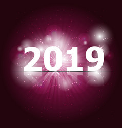 2019 happy new year on pink background vector image