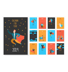 2019 year monthly calendar with flat characters vector image