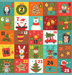 Advent calendar with christmas characters vector