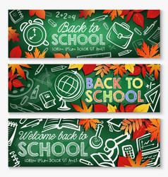 back to school chalkboard banner education design vector image