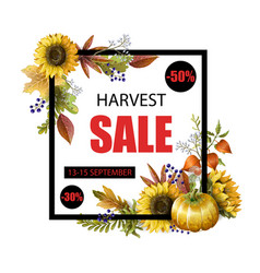 banner autumn sale with yellow leaves vector image