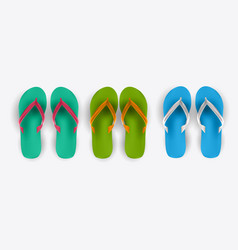 beach flip flop collection set vector image