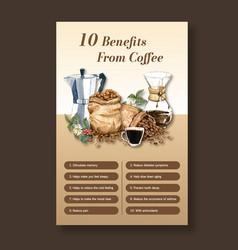 Benefit from coffee healthy coffee arabica roast vector