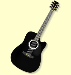 Black gold folk flat acoustic guitar vector image