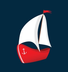 Boat red icon vector
