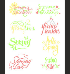 bright spring calligraphic letterings set vector image