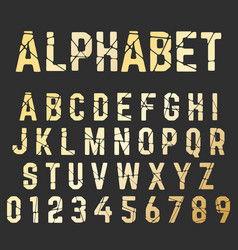 broken font alphabet set of letters and numbers vector image