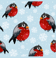 bullfinch birds seamless pattern with snowfall vector image