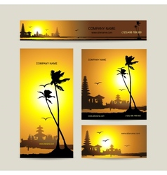 Business cards set with tropical sunset for your vector