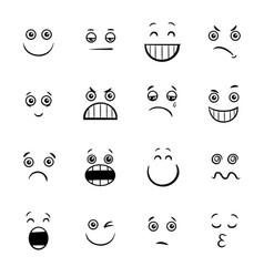 Cartoon emoticons or facial emotions collection vector