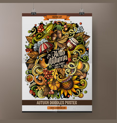 Cartoon hand drawn doodles autumn poster design vector