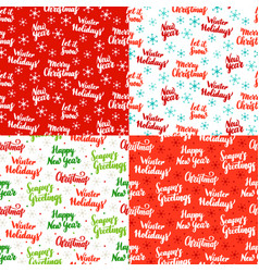 christmas lettering seamless patterns vector image