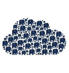 Cloud shape elephant icons vector