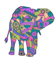 Colorful elephant silhouette vector image