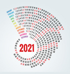 colorful round calendar 2021 calendar portrait vector image