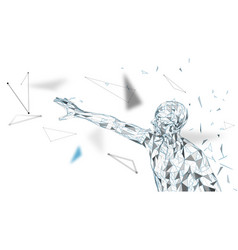 conceptual abstract man touching or pointing to vector image