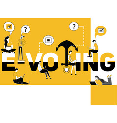 creative word concept e-voting and people doing vector image