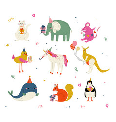 Cute animals wearing party hats with birthday vector